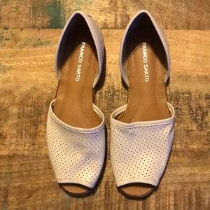 Franco Sarto Off White Leather Flats, Size 8 NWOT